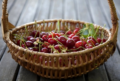 basket full of cherries